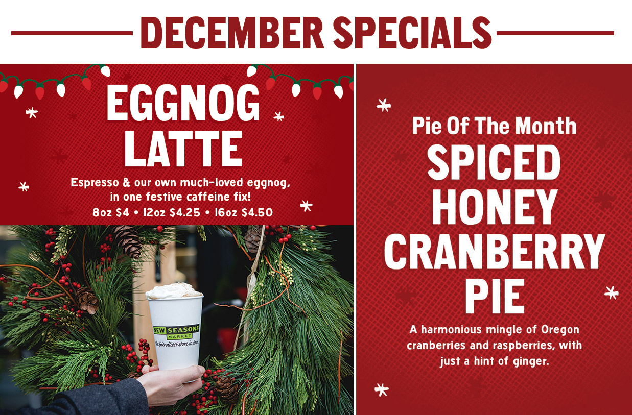 Description of eggnog latte and spiced honey cranberry pie with image of latte in front of holiday wreath