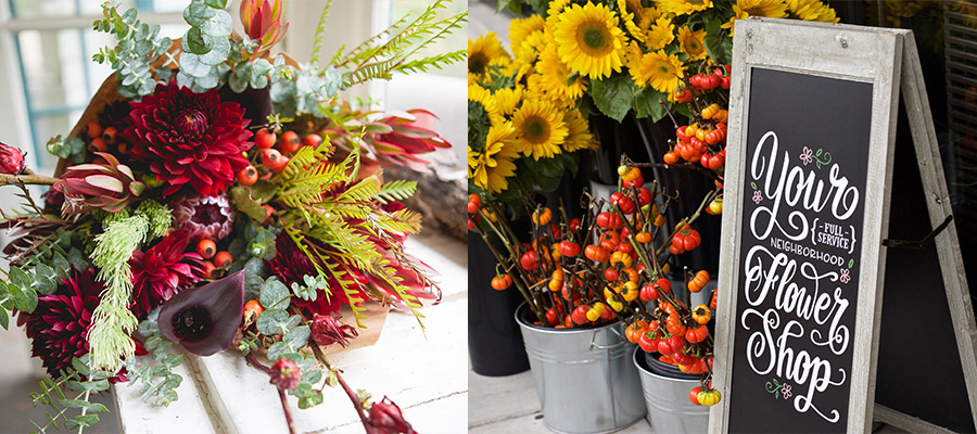 "Two side-by-side images. Left side is a fall floral bouquet laid out on a white surface next to a window, right side is an a-frame chalkboard on a sidewalk that reads ""Your full service neighborhood flower shop"" surrounded by metal buckets of sunflowers and branches"