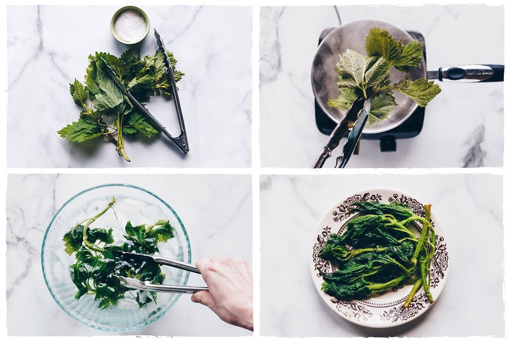 4-panel image of instructions for blanching stinging nettles