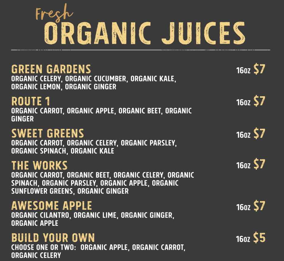 a menu of fresh organic juices