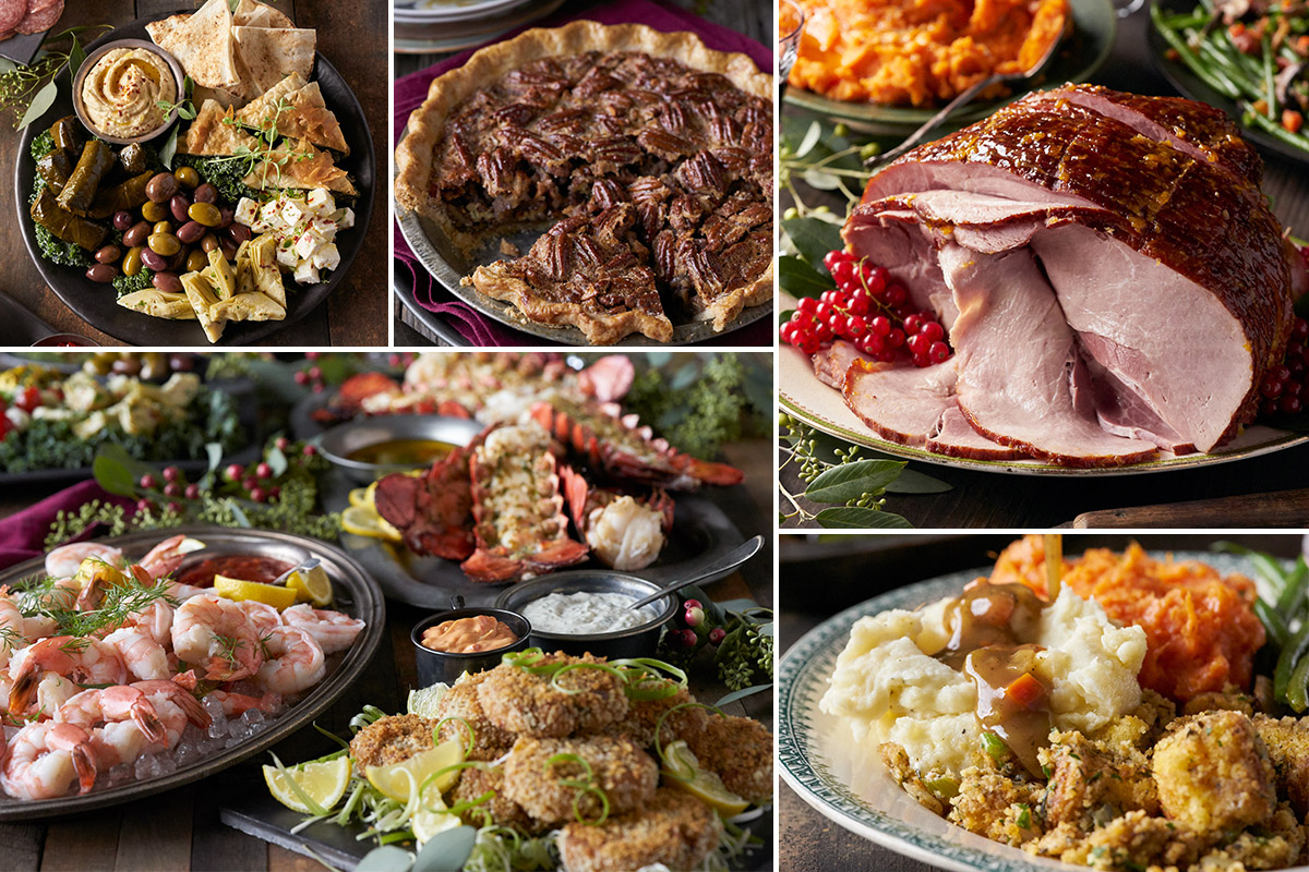 Montage of various holiday foods