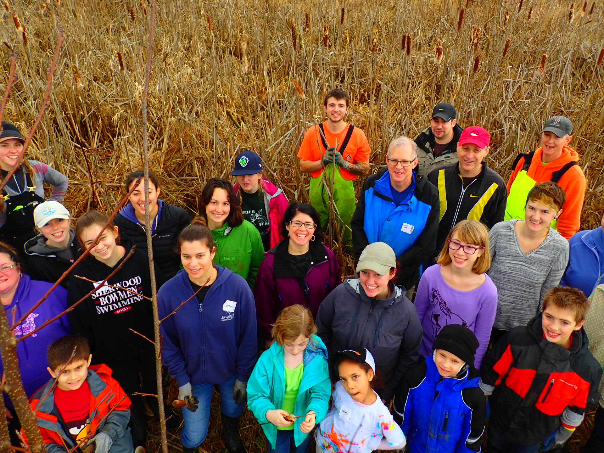 large group of volunteers at the wetlands conservancy