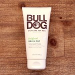 a bottle of bulldog brand original shave gel