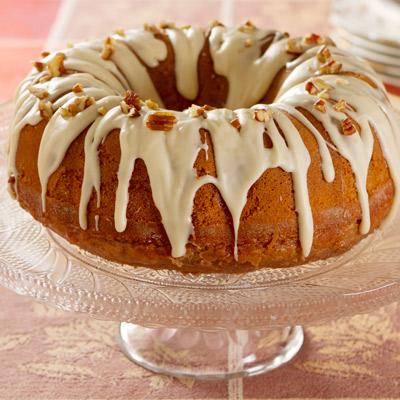 Apple Pecan Bundt Cake on a class tray