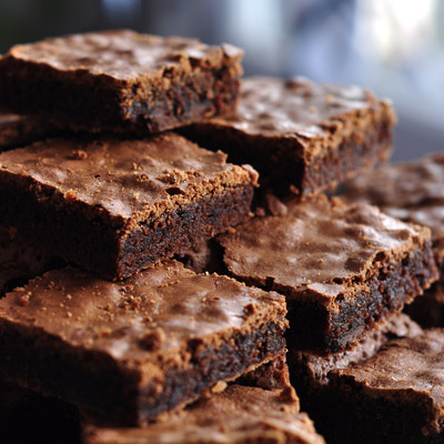 A pile of one bowl chocolate brownies