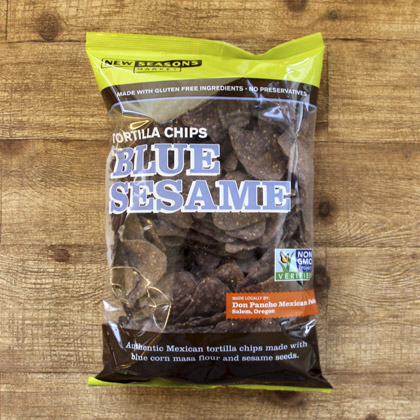 a bog of new seasons brand blue sesame tortilla chips