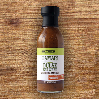 a bottle of new seasons brand tamari and dulse seaweed dressing and marinade