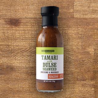 a bottle of new seasons brand tamari and dulse seaweed dressing and marinade