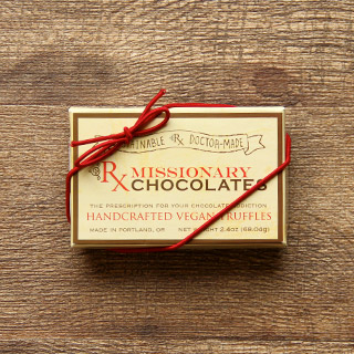 a box of missionary chocolates brand handcrafted vegan truffles