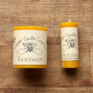 two casper candle company brand beeswax candles