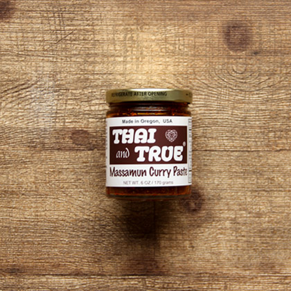 a jar of thai and true brand massamun curry paste