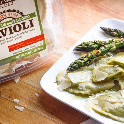 new seasons brand ravioli pasta served with asparagus and parmesan