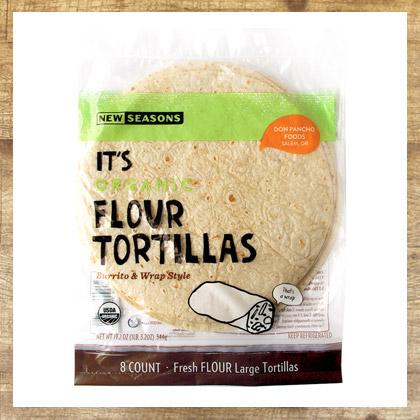 a package of new seasons brand organic flour tortillas