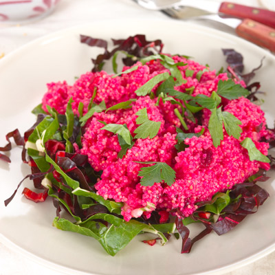 A plate of Scarlet Quinoa topped with parsley
