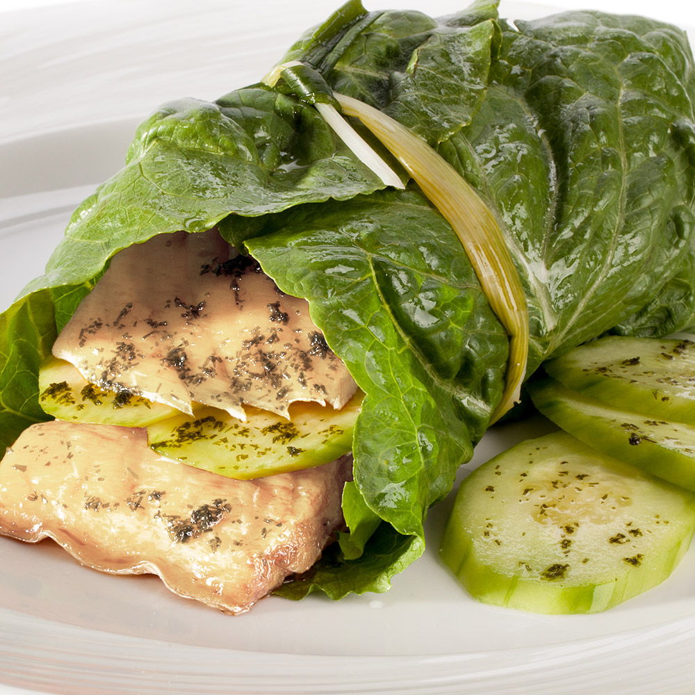 grilled halibut wrapped in a crispy piece of romaine lettuce