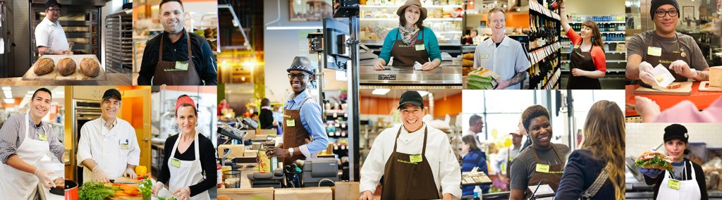 collage of new seasons employees happily at work