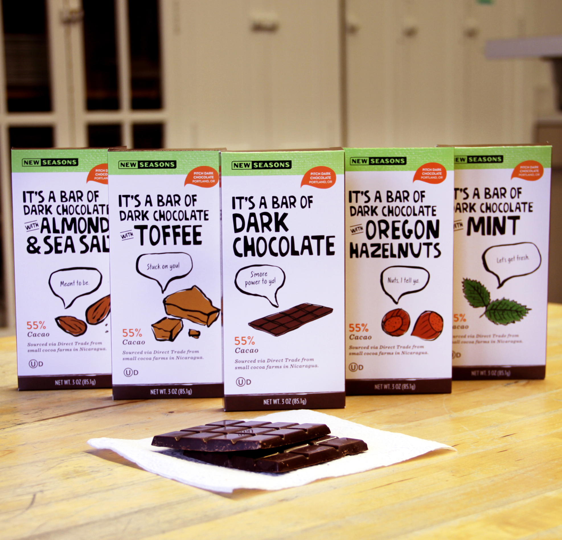 bars of new seasons brand chocolate in a plethora of flavors