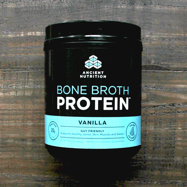 a jar of ancient nutrition brand bone broth protein in vanilla