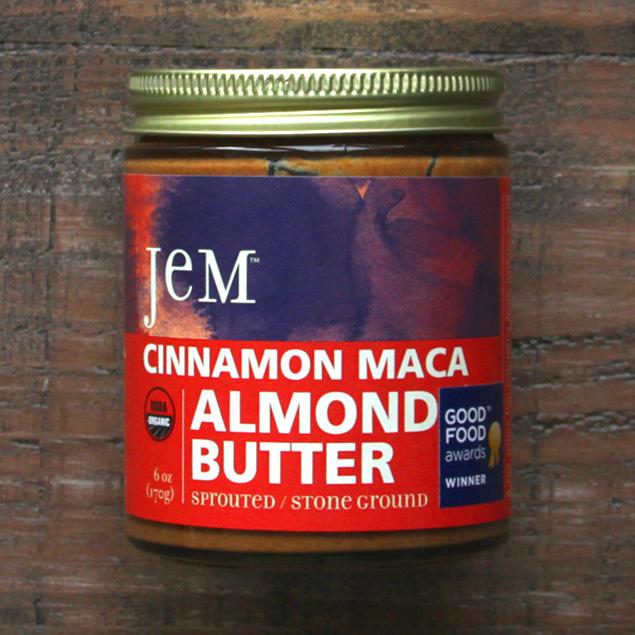 a jar of jem brand cinnamon maca almond butter
