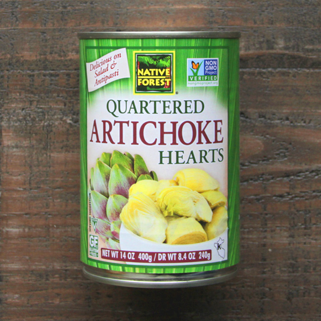 can of native forest brand quartered artichoke hearts