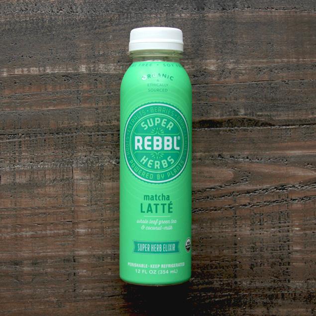 bottle of rebbl brand matcha latte super herb elixir