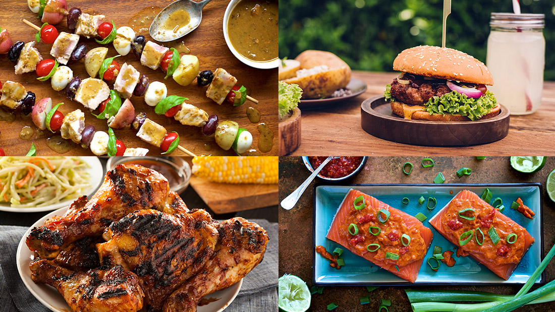 montage of meats featuring salmon tuna skewers burgers and barbecue chicken