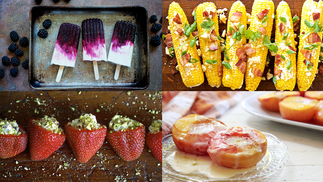 a montage of summer delights including berries and cream popsicles stuffed strawberries peached and cream and corn on the cob with bacon