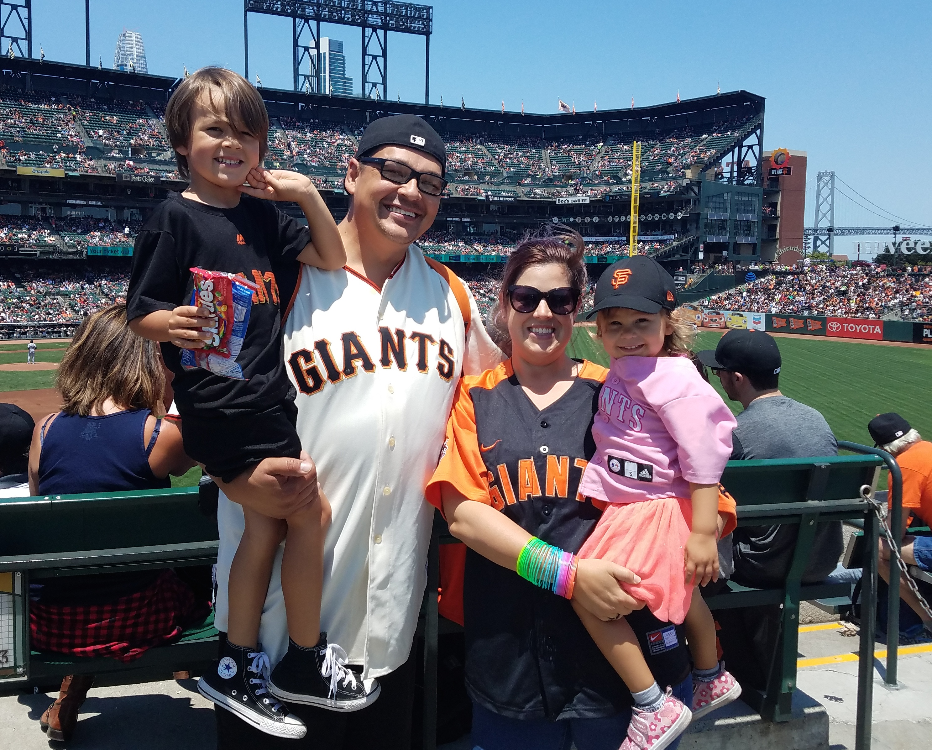 a family of four at a baseball game