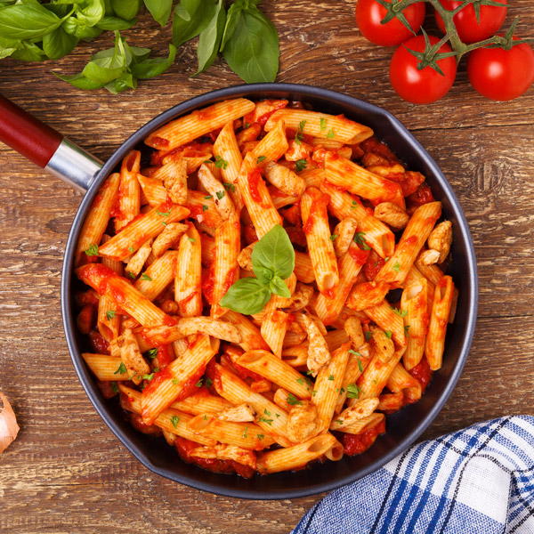 Barbecue Pork And Penne Skillet Recipe: Penne Arrabbiata With Chicken And Basil