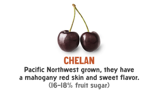 Chelan - Pacific Northwest grown, they have a mahogany red skin and sweet flavor. (16-18% fruit sugar)